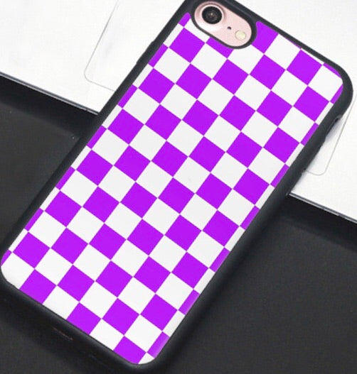 Purple & White Checkered IPhone Case