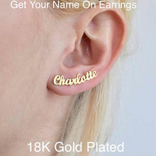 Load image into Gallery viewer, Personalized 18K Gold Plated Earring Studs