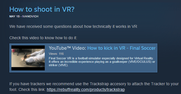 Final Soccer recommended with TrackStrap for the HTC Vive Tracker