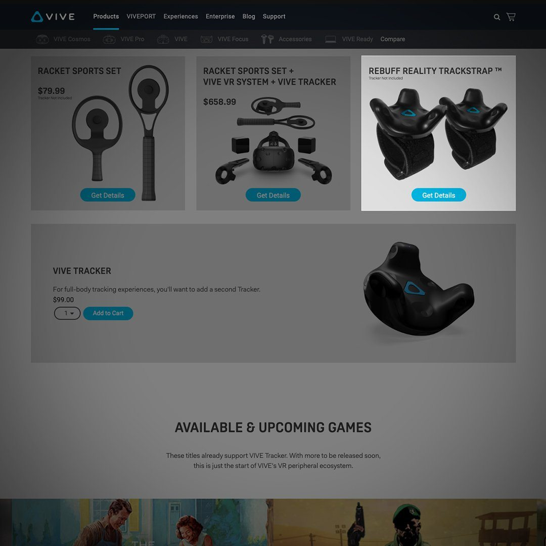 TrackStrap listed on vive.com