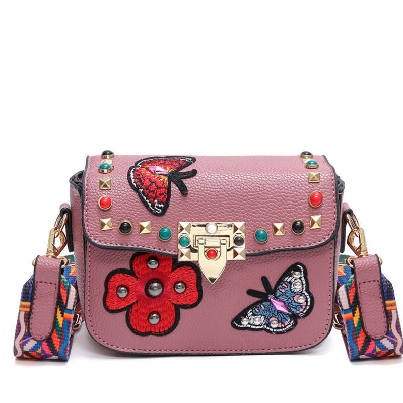 Versatile Women Butterfly Stud Handbag With Luxury Strap