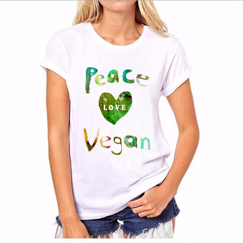 Peace Love Vegan Women T-Shirt