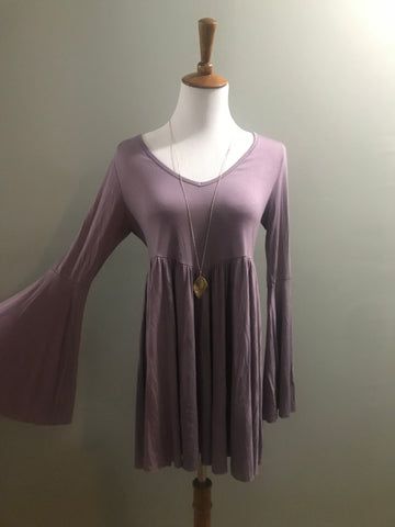 Purple Bell-Sleeve Top
