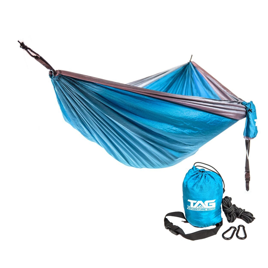 The Adventure Guys Outdoor Gear Light Blue with Silver Border Double Lightweight Hammock