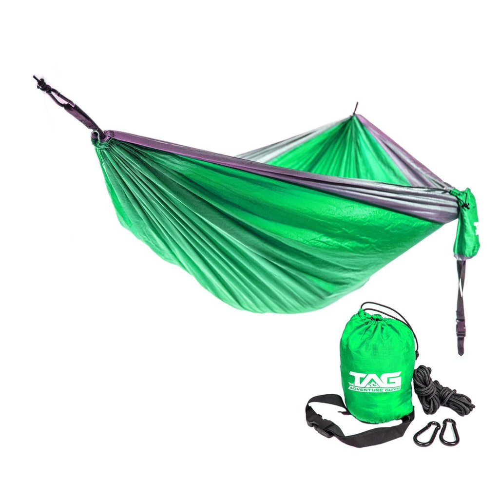 The Adventure Guys Outdoor Gear Lime Green with Silver Border Double Lightweight Hammock