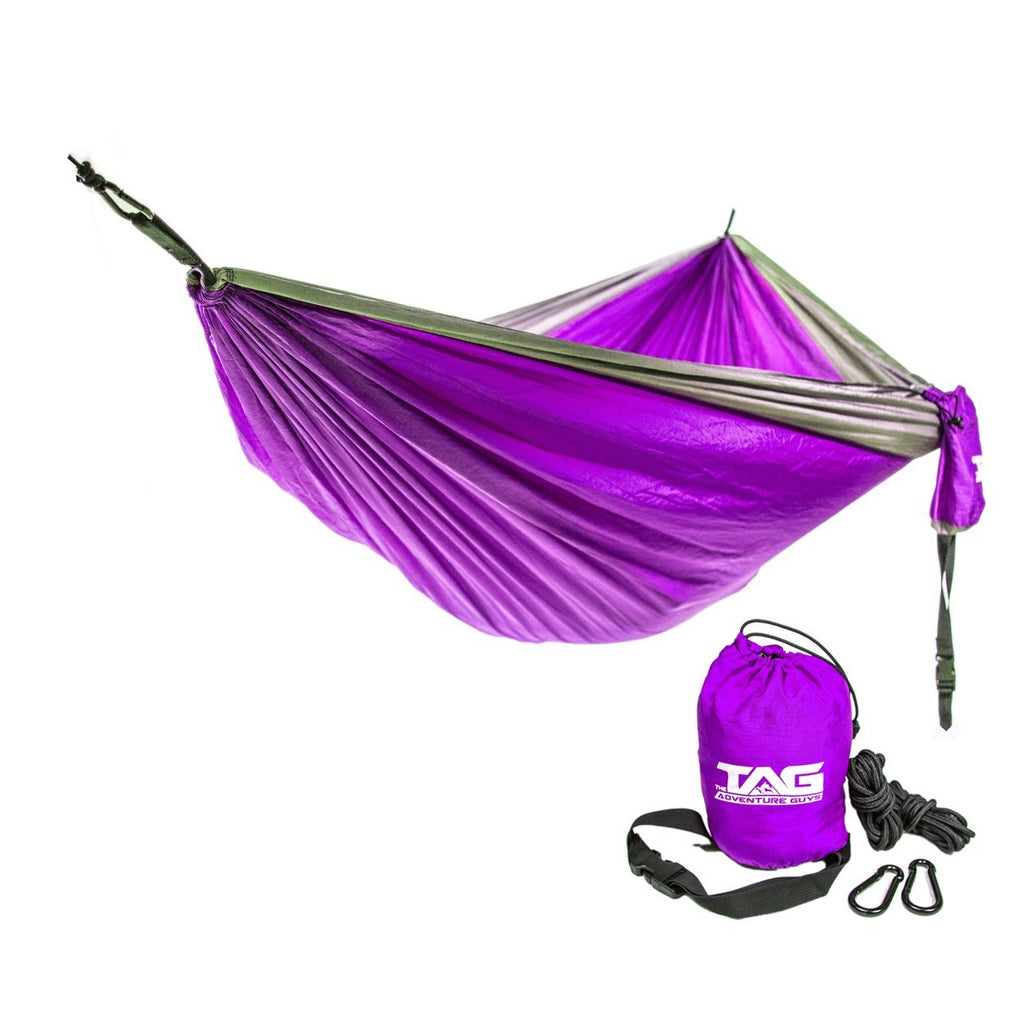 The Adventure Guys Outdoor Gear Purple with Silver Border Double Lightweight Hammock
