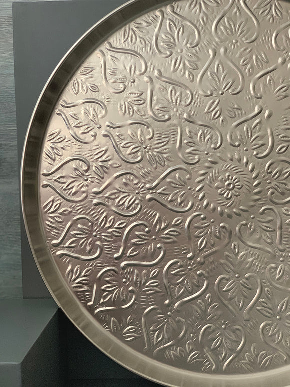 platter, serveware, tray, silver, thaal, traditional