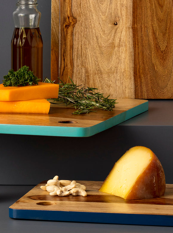 studio,kiklee,chopping,cheese,board,wood,blue,rectangular,serve