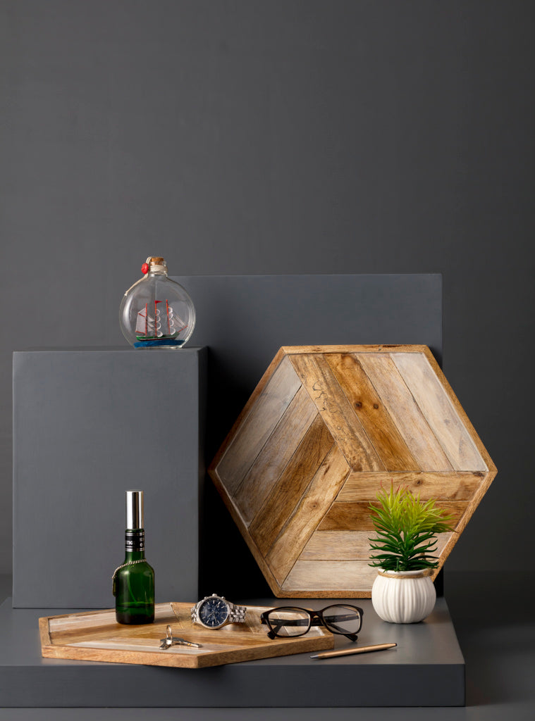 tray,trays,serveware,serving,brown,hexagonal,wood,studio,kiklee