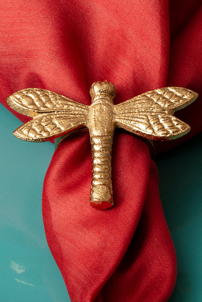 DRAGON FLY NAPKIN RINGS - SET OF 4 - Studio Kiklee By Simrat Kohli