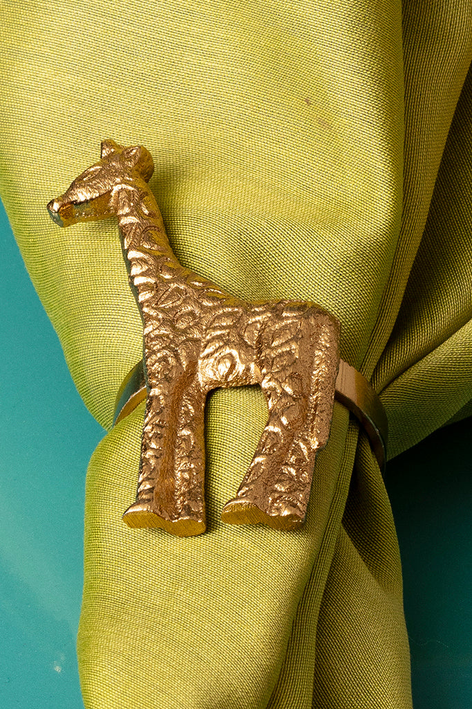 GIRAFFE NAPKIN RINGS - SET OF 4 - Studio Kiklee By Simrat Kohli
