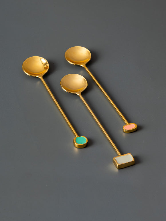 RAMONA COCKTAIL SPOONS - SET OF 3 - Studio Kiklee By Simrat Kohli