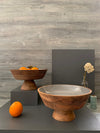 WOODEN BOWL, FOOTED BOWL, FRUIT BOWL, SALAD BOWL. GREY AND BROWN