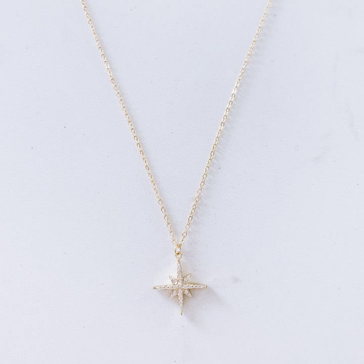 Gold CZ Star Burst Pendant Necklace