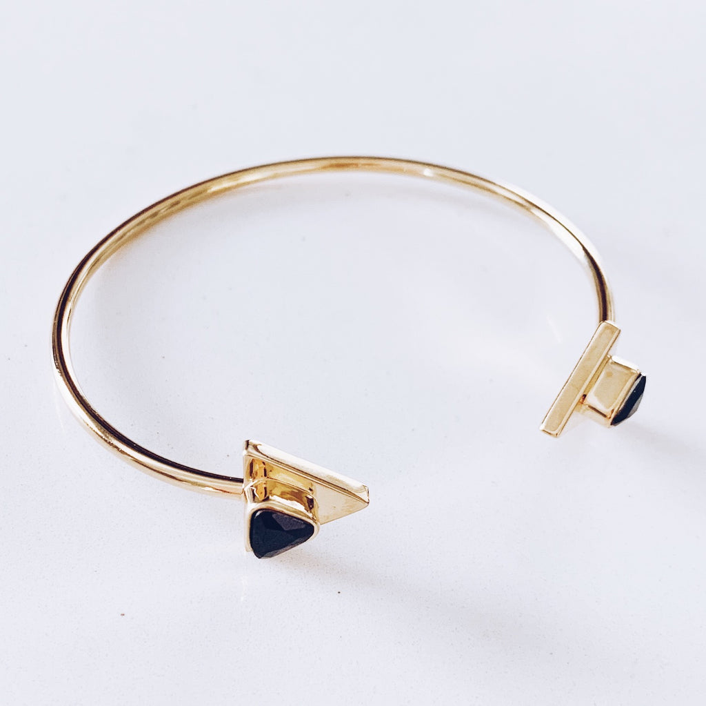Gold Black CZ Open Cuff Bracelet