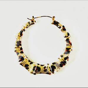 Gold Leopard Bamboo Hoops