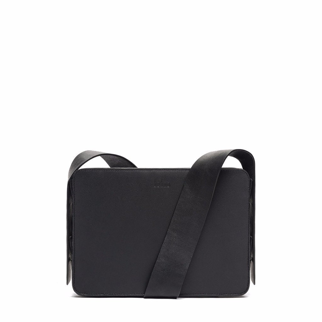 The Pebbled Lunchbox Crossbody in Black