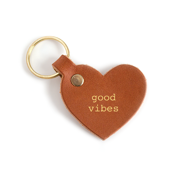 Good Vibes Leather Key Tag