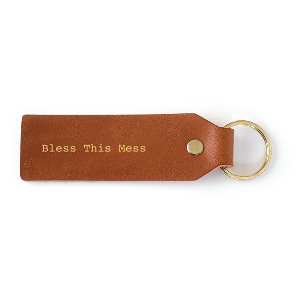Bless This Mess Leather Key Tag