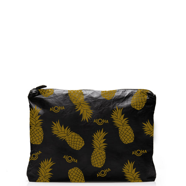 Mid-Sized Pineapple Black Pouch