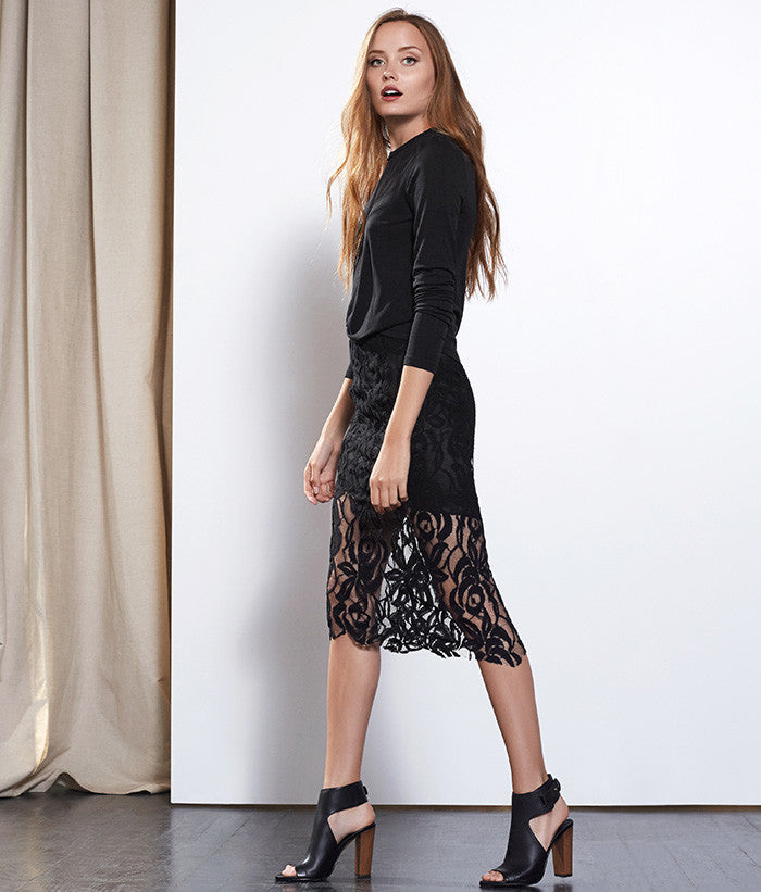 Ava Lace Pencil Skirt