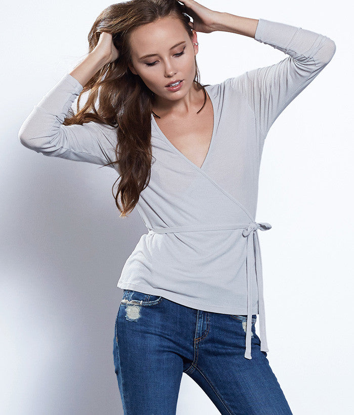 Eucalyptus Ribbed Wrap Top