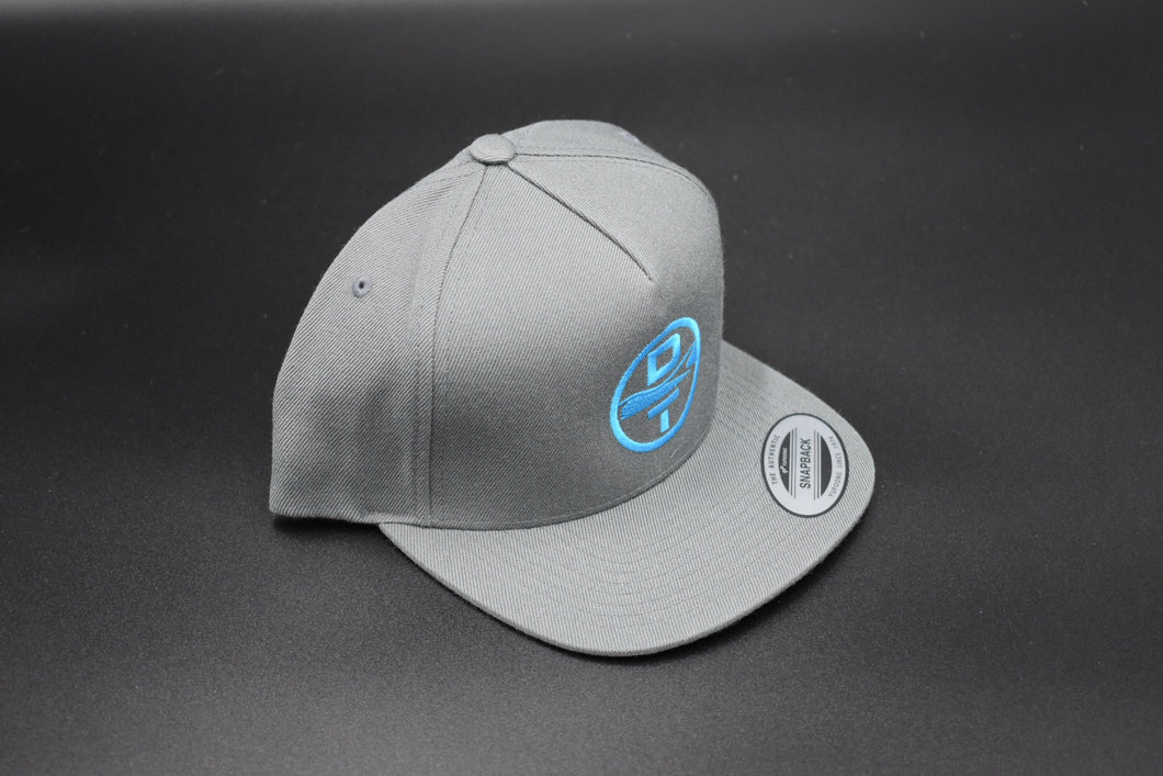 Gray DT Circle Logo Hat - Flat Bill Snap Back - Mesh Back