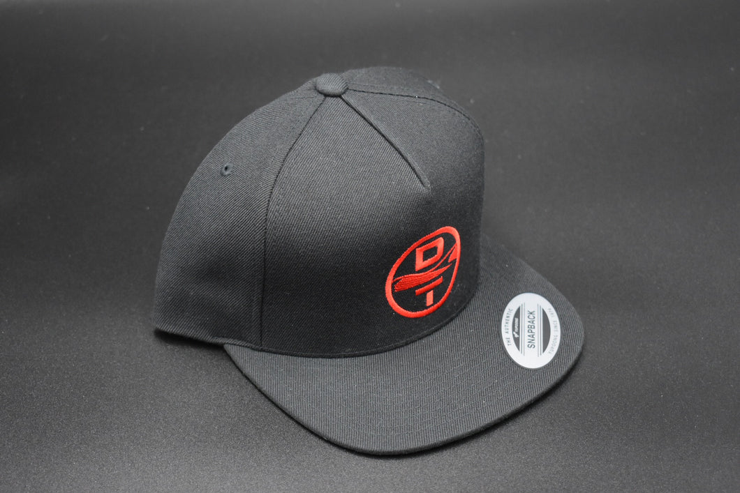 Black DT Circle Logo Hat - Flat Bill Snap Back - Mesh Back
