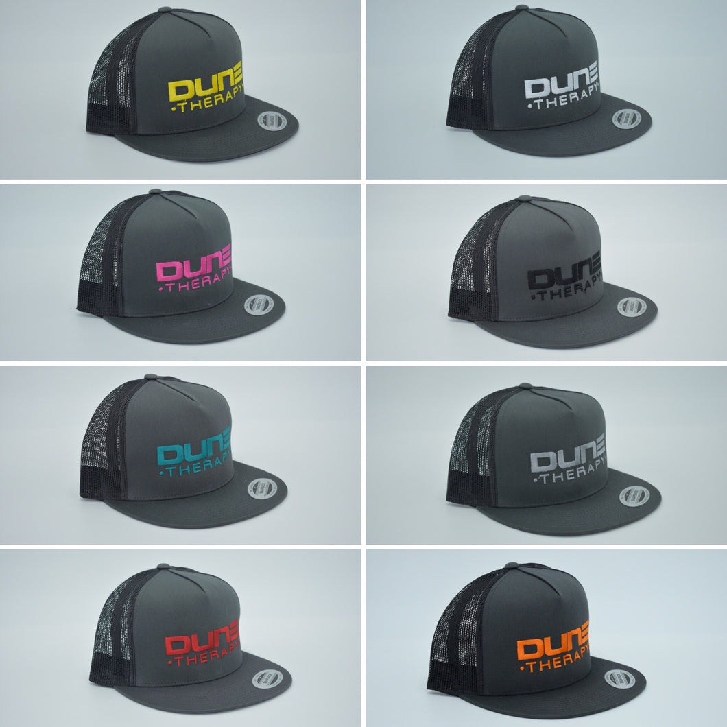 Dune Therapy Hat - Dark Gray Snap Back- Flat Bill- Mesh Back