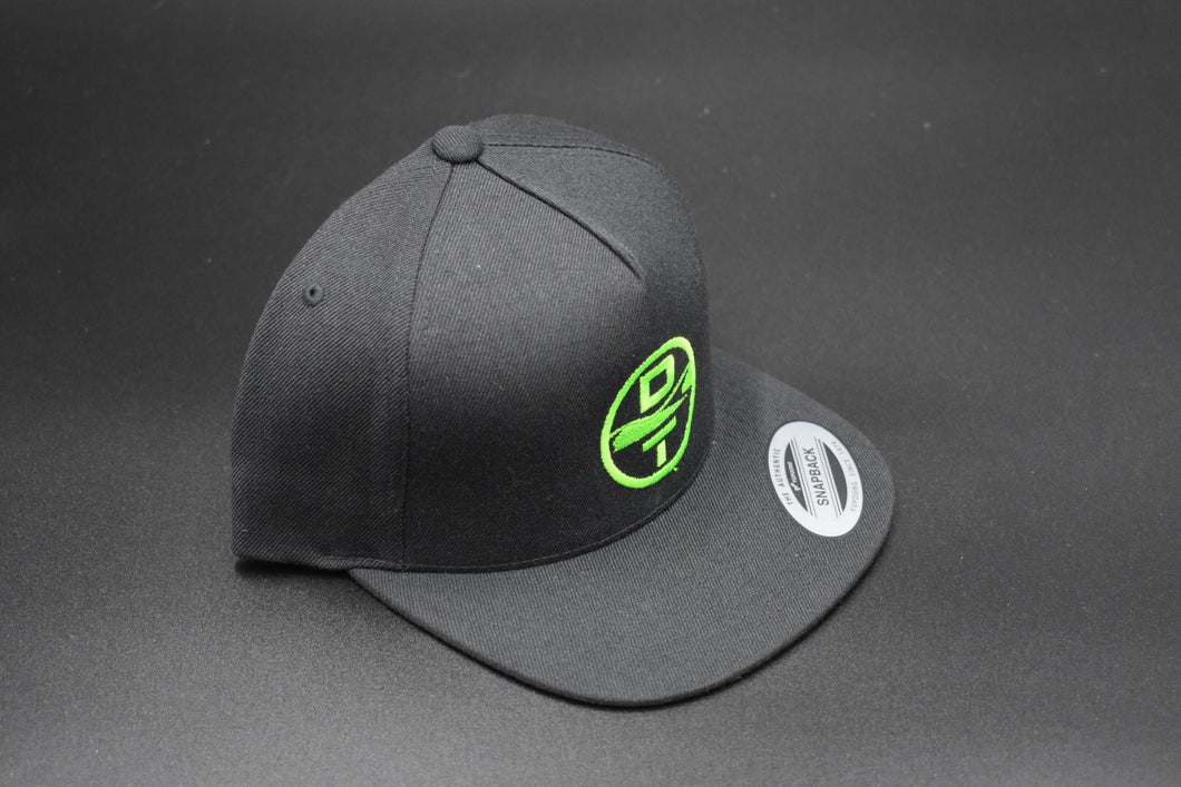 Black DT Circle Logo Hat - Flat Bill Snap Back - Solid Back