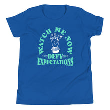 Watch Me Defy Expectations (Turquoise Ink) Youth Tee