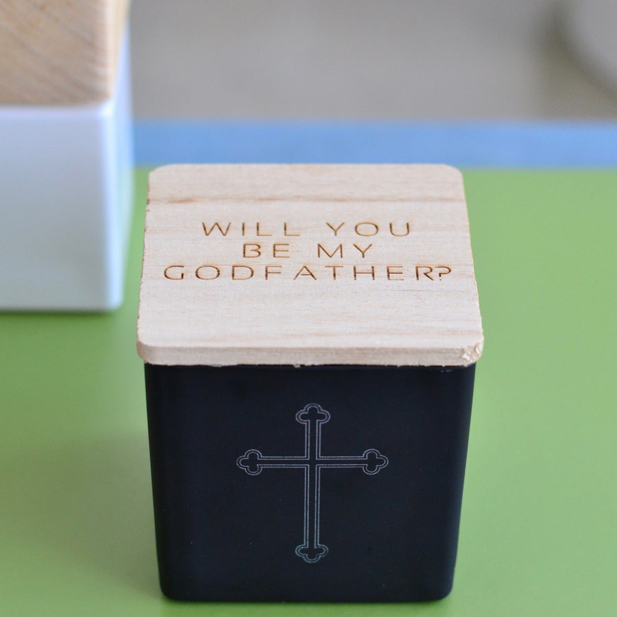 """WILL YOU BE MY GODFATHER?"" CANDLE (SUPER)"