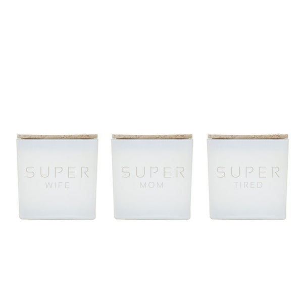 SUPER WIFE, SUPER MOM, SUPER TIRED CANDLE TRIO