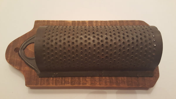 Vintage Farmhouse Punched Tin Nutmeg Grater Mounted To Board For Primitive Wall Hanging