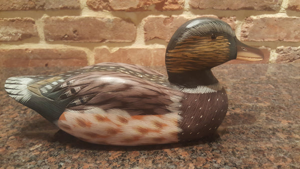 SIGNED Hand Painted Wooden Duck Decoy