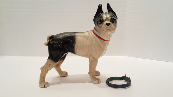 Antique Cast Iron Boston Terrier Dog Doorstop with Two Flat Head Screws
