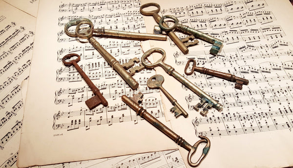 Collection of 9 Antique Skeleton Keys Variety of Styles