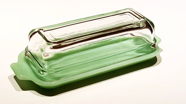 Vintage Anchor Hocking Fire King Jadeite Green Butter Dish with Clear Lid