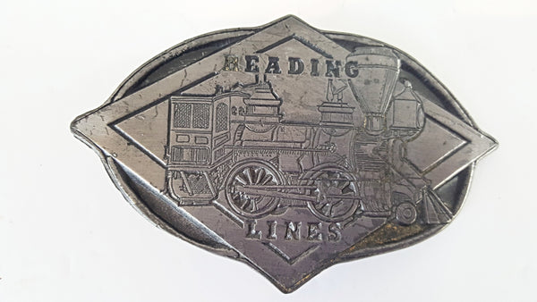 Vintage Reading Lines Railroad Pewter Belt Buckle Collectible