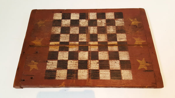 Primitive Hand Crafted Wooden Folk Art Checkerboard