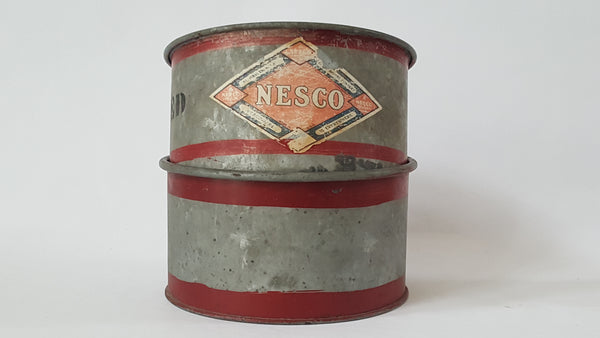 Vintage Nesco 4 Quart Dry Measure Galvanized Metal Containers - Set of 2