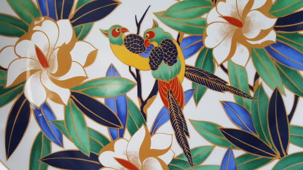 Takahashi Tropicale Large Chop Plate - Birds on a Branch Bright Floral