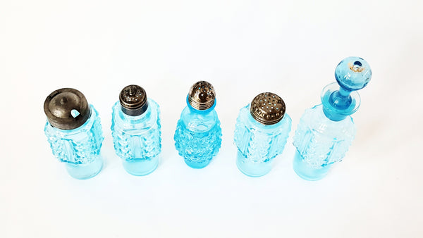 Antique Blue Pressed Glass Castor Set - Bottles and Rotary Stand - Daisy & Button Pattern