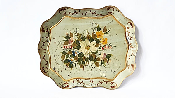 Large Vintage Hand Painted Green Floral Tole Tray