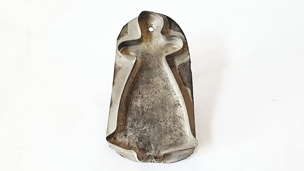 "Antique ""Woman in Long Dress"" Tin Flat Back Cookie Cutter with Flat Back and Handle"