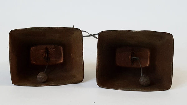 Vintage Copper Plated Cow Bells - Initialed