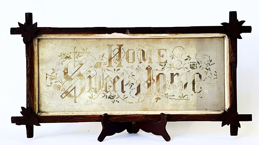 "Antique Framed Needlework Sampler on Perforated Paper - ""Home Sweet Home"" Motto"