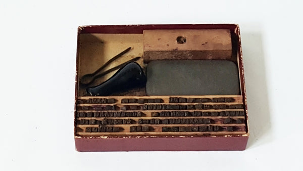 Early 1900's Excelsior Mini Wooden Printer's Stamp Set in Original Box