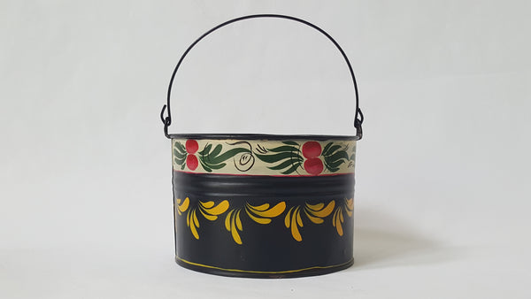 Vintage Decorative Painted Folk Art Toleware Small Tin Bucket and Pan