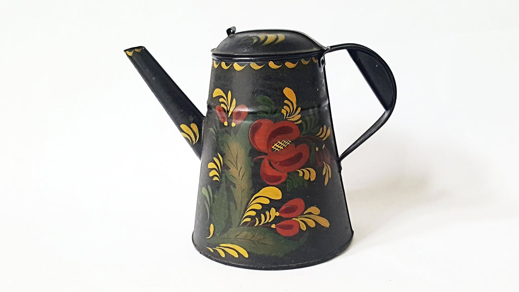 Antique Tin Tole Painted Coffee Pot With Hand Crafted Rolled Tab Lid